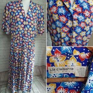 Vintage Liz Claiborne pleated maxi dress size 14